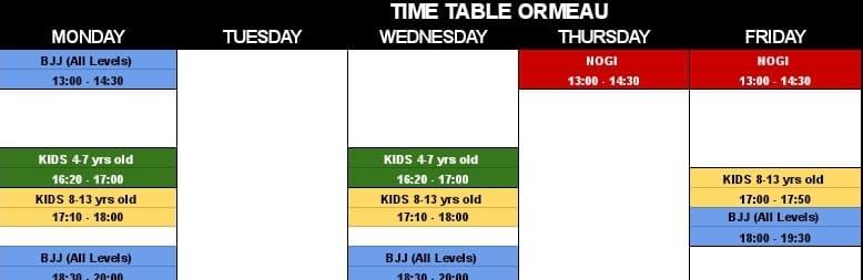 ormeau bjj class timetable