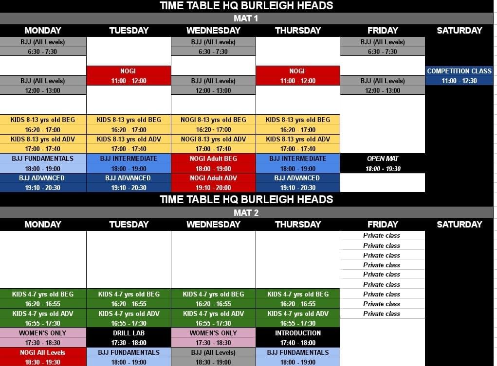 burleigh bjj class timetable